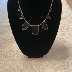 House of Harlow Black Leather & Gold Necklace